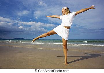 femme, sur, les, plage., manière vivre saine