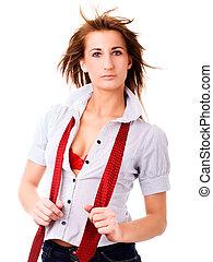 femme, sur, sexy, cravate, blanc