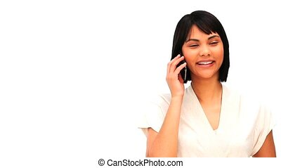 femme, sur, téléphone, asiatique, désinvolte, parler