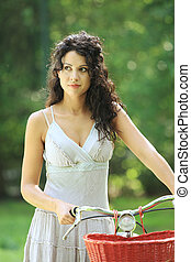 femme, sur, vélo