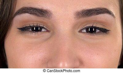 femme, surpris, brun-vert, yeux, tir, macro