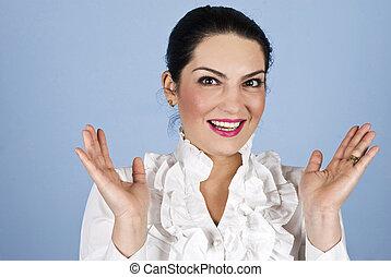 femme, surpris, business, heureux
