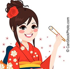 femme, sushi, kimono