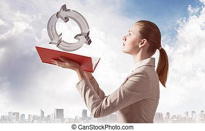 femme, symbole, regarde, recycler, transparent, 3d