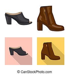 femme, symbole, web., illustration, bitmap, ensemble, chaussures, pied, icon., stockage