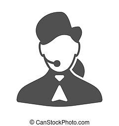 femme, téléopérateur, icône
