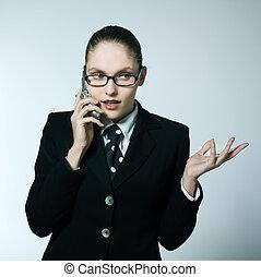 femme, téléphone, business