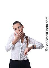 femme, téléphone, gestion, temps, peur, parler