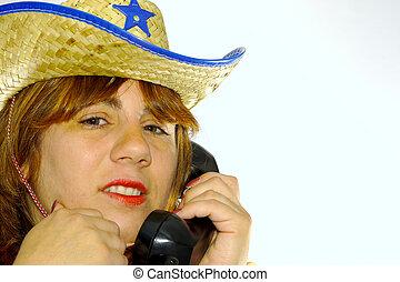 femme, téléphone