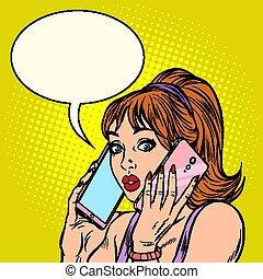 femme, téléphones, deux, même, conversation, temps, sérieux