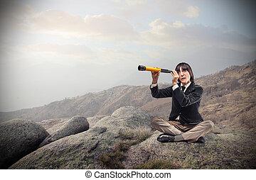 femme, télescope