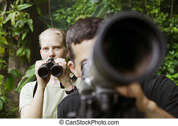 femme, télescope, jumelles, jungle, joli, homme