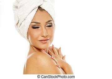 femme, tête, serviette, elle, beau