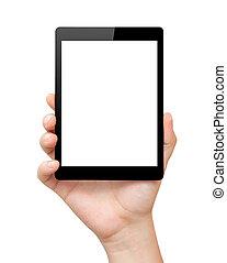 femme, tablette, écran, isolé, main, prise