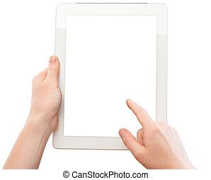 femme, tablette, écran, mains, vide, blanc