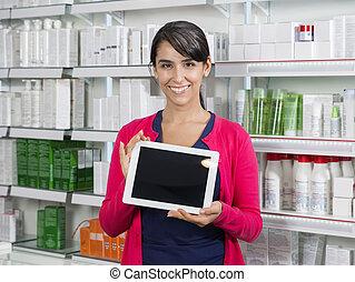 femme, tablette, écran, pharmacie, informatique, tenue, vide