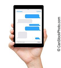 femme, tablette, écran, sms, main, bavarder, prise