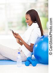 femme, tablette, américain, informatique, africaine, utilisation