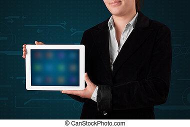 femme, tablette, apps, tenue, blanc, flou