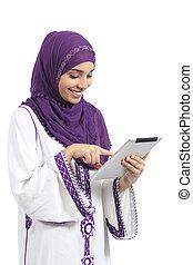 femme, tablette, arabe, toucher, lecteur, lecture