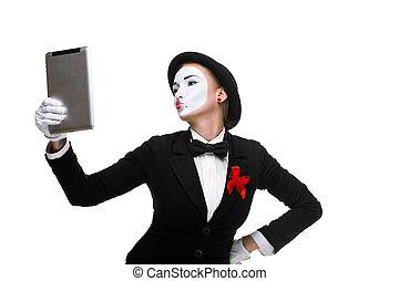 femme, tablette,  Business,  image,  PC,  mime, tenue