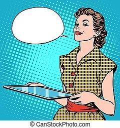femme, tablette, concepteur, graphique