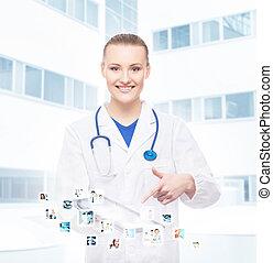 femme, tablette, docteur, comp, gai, jeune, professionnel
