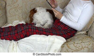 femme, tablette, elle, chien