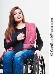 femme, tablette, fauteuil roulant, invalide, utilisation, girl