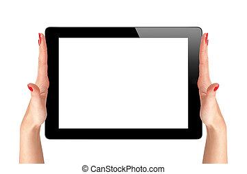 femme, tablette, gadget, mains, isolé, informatique, fond, tenue, toucher, blanc