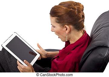 femme, tablette
