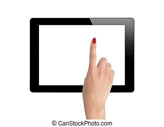femme, tablette, isolé, tenant mains, blanc