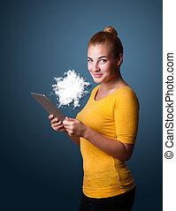 femme, tablette, résumé, moderne, jeune regarder, nuage