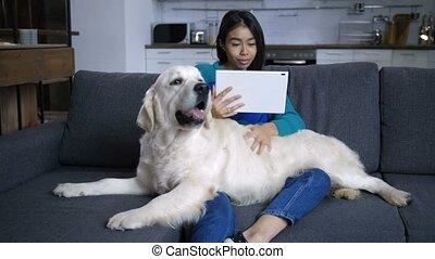 femme, tablette, regarder, hindou, chien, jeune, caresser
