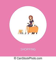 femme, tabouret, chaussures, achats, essayer, assied