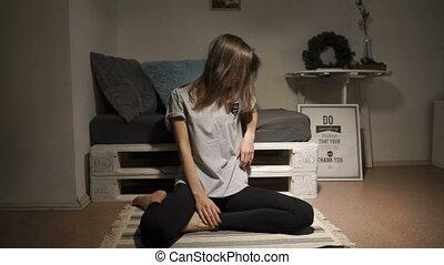femme, tapis, séance
