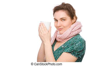 femme, tasse
