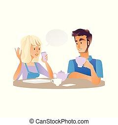 femme, tasse, thé, jeune, conversation, vecteur, homme