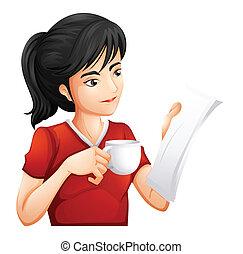 femme, tasse, thé, quoique, tenue, lecture