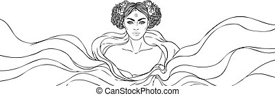 femme, telling., illustration., book., beau, jeune, fortune...