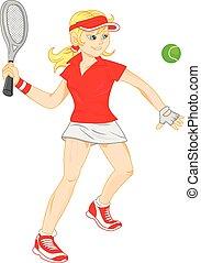 femme, tennis, jeune, jouer