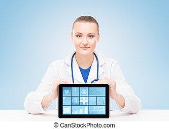 femme, tenue, tablette, docteur