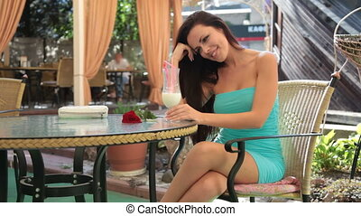 femme, terrasse, délassant