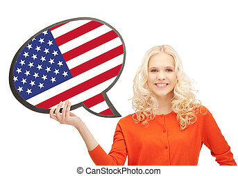 femme, texte, drapeau américain, sourire, bulle