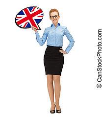 femme, texte, drapeau britannique, sourire, bulle