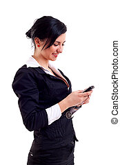 femme, texting, business