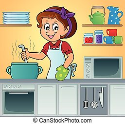 femme, thème, cuisinier