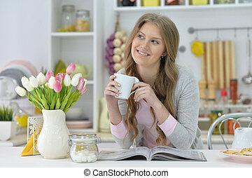 femme, thé, boire, beau
