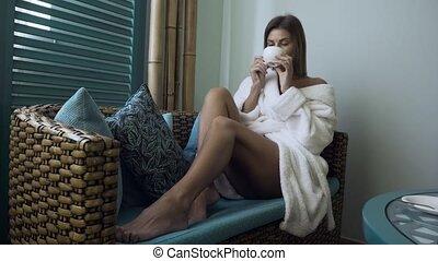 femme, thé, peignoir, spa, boire, salon.
