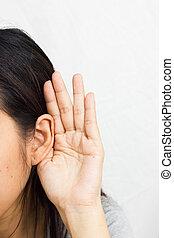 femme, tient, main, sien, écoute, oreille